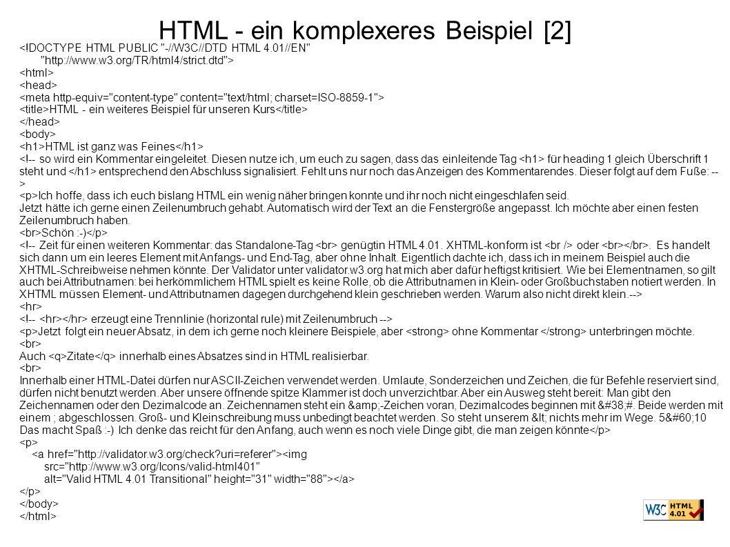 HTML - ein komplexeres Beispiel [2]